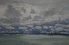 Seascape with clouds on the horizon